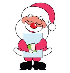 Cartoon santa claus holding a sign card vector