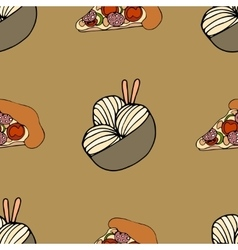 Cartoon seamless pattern with food vector image
