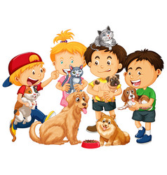 Children playing with dogs and cats isolated vector