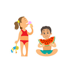 Children summer at beach girl and boy with snack vector