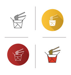chinese noodles in paper box and chopsticks icon vector image