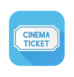 cinema ticket white sign on blue square icon vector image