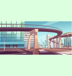 cityscape with skyscrapers and overpass highway vector image