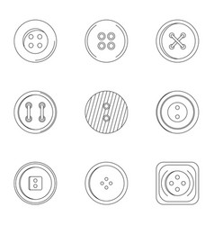 clothes button icon set outline style vector image