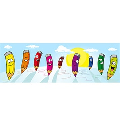 Colorful crayons drawing on white paper vector