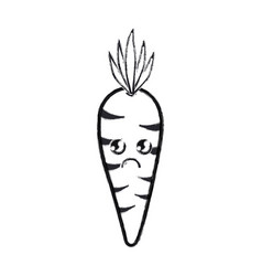 contour kawaii cute sad carrot vegetable vector image