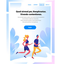 couple running cartoon character sport man woman vector image