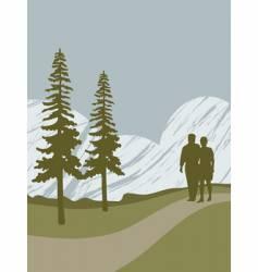 Couple walking vector