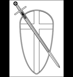 crusaders shield and sword outline vector image