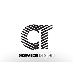 Ct c t lines letter design with creative elegant vector