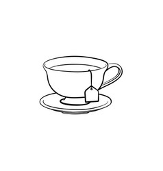cup with tea bag hand drawn sketch icon vector image