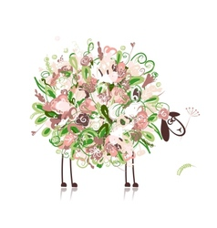 Cute sheep floral style for your design vector