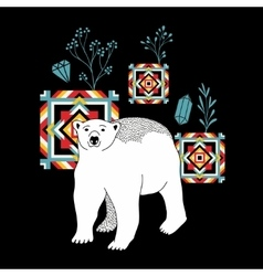 Decorative print with polar bear vector