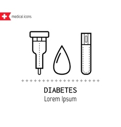 Diabetes Icons Drop of blood and test glucose vector