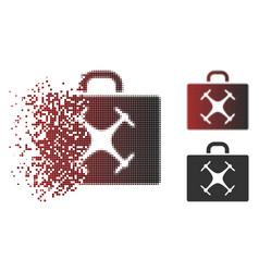 Disintegrating pixel halftone drone case icon vector