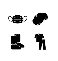 Disposable medical equipment black glyph icons vector