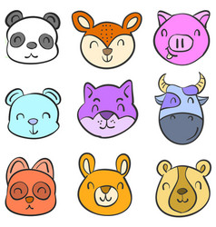 Doodle of animal head hand draw colorful vector
