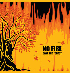 Eco poster on theme forest fires save the vector