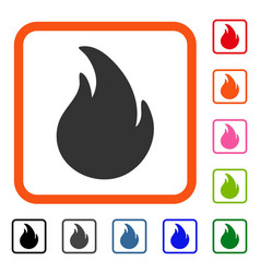 Fire framed icon vector