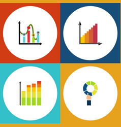 Flat icon graph set of chart monitoring pie bar vector