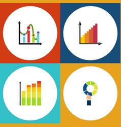 flat icon graph set of chart monitoring pie bar vector image