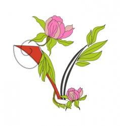 floral font 2 letter v vector image