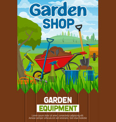 Garden shop poster with agricultural tools on lawn vector
