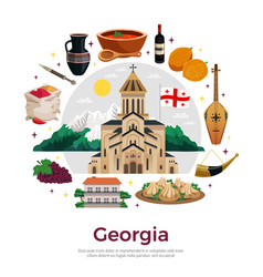 Georgia flat composition poster vector