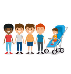 group of boys friends characters vector image