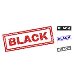grunge black textured rectangle stamp seals vector image