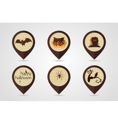Halloween mapping pin icon set vector image