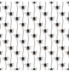 Halloween pattern with spiders black and white vector
