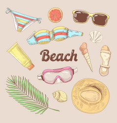 hand drawn beach vacation doodle tourism fashion vector image