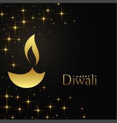 happy diwali golden diya with sparkles background vector image
