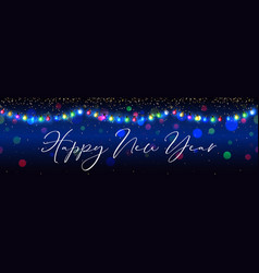 Happy new year celebration garland background vector