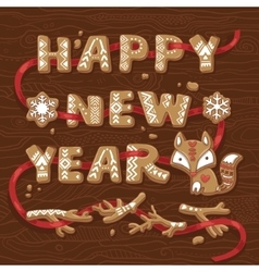 Happy New Year congratulation text made of vector image