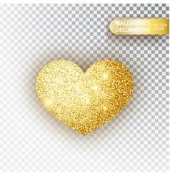 heart golden glitter isolated on transparent vector image
