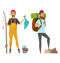 hobfishing and hiking male leisure vector image