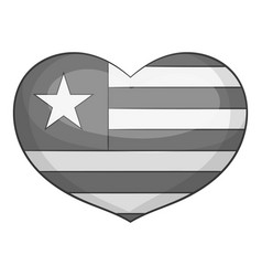 Independence day heart icon monochrome vector