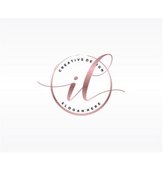 initial il handwriting logo with circle template vector image
