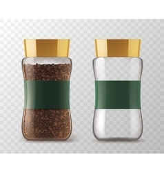 Instant coffee glass jar models vector image