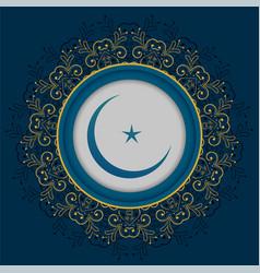Islamic mandala decorative moon and star design vector