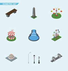 Isometric city set of recreation garden decor vector