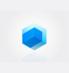 isometric cube construction 3d logo structure vector image