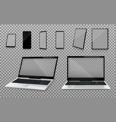 laptop smartphone mockups transparent set vector image