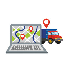 laptop with truck vector image