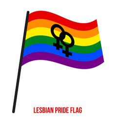 Lesbian pride flag waving designed with raibow vector