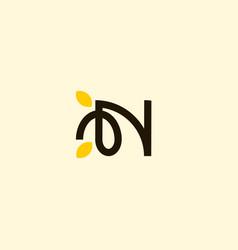 letter n leaf naturally business logo vector image