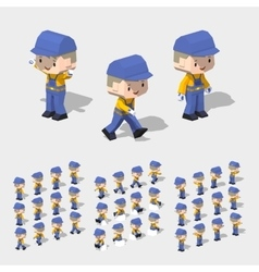 Low poly worker with blond hair in the blue vector