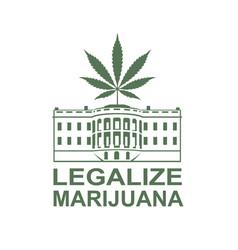 marijuana leaf on white house vector image